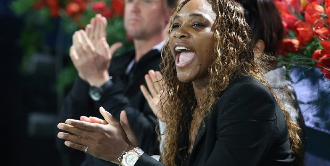 Serena Williams in doubles with Kim Kardashian