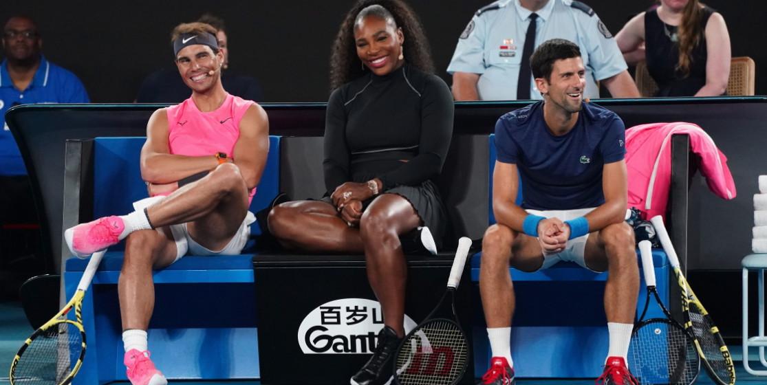 Rafael Nadal, Serena Williams et Novak Djokovic, lors d'une exhibition en ouverture de l'Open d'Australie 2020