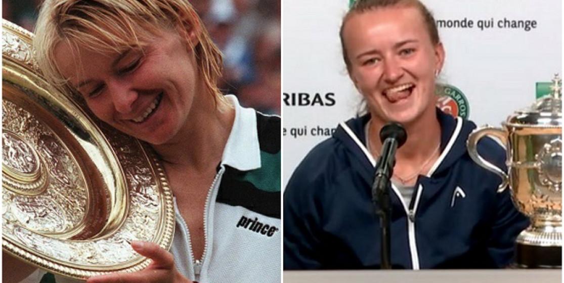 Jana Novotna and Barbora Krejcikova with their major trophies