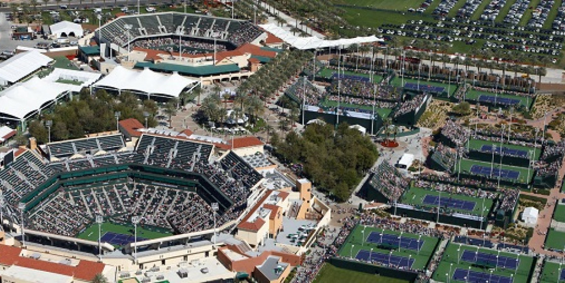 View from above of the Indian Wells Tennis garden